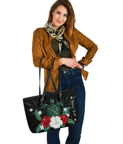 Personalized - Hawaii Turtle Hibiscus Plumeria Large Leather Tote Bag - AH - J4 - Alohawaii