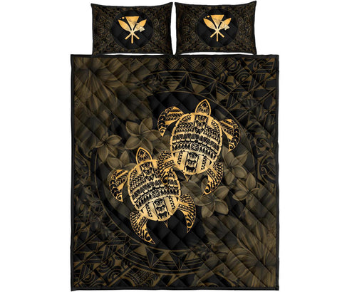 Alohawaii Quilt Bed Set - Turtle Strong Pattern Hibiscus Plumeria Gold AH J1