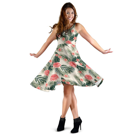 Hawaii Hibiscus Plumeria Tropical Red Midi Dress   - AH - J71