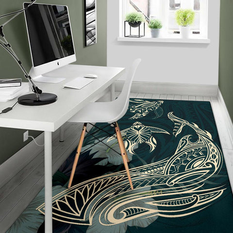 Hawaii Tropical Hibiscus Aumakua  Rug - Lucas Style - Green - AH - J6