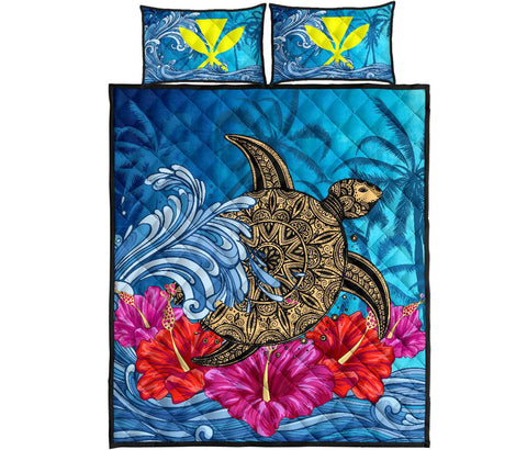 Hawaii Sea Turtle Hibiscus Coconut Tree Quilt Bed Set