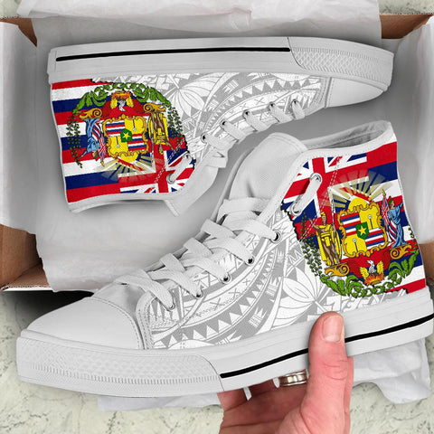 Image of Hawaii High Top Shoes State Flag Polynesian White Pride AH J1