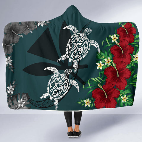 Hawaii Map Turtle Hibiscus Plumeria Polynesian - Hooded Blanket AH J2