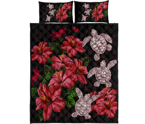 Hawaii Red Hibiscus Turtle Quilt Bed Set