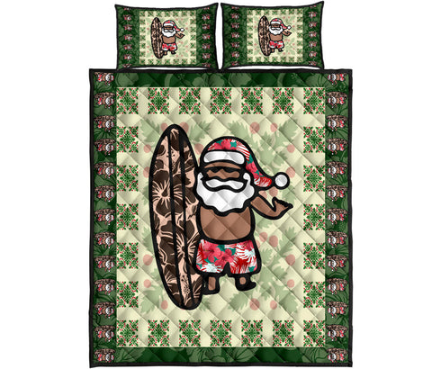 Hawaiian Quilt Christmas - Santa Claus Surf Quilt Bed Set