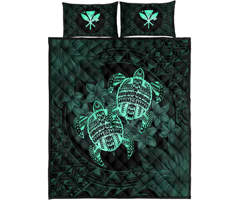 Alohawaii Quilt Bed Set - Turtle Strong Pattern Hibiscus Plumeria Turquoise AH J1