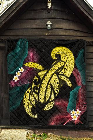 Image of Hawaii Turtle Polynesian Tropical Premium Quilt - Ghia Style Yellow - AH - J4