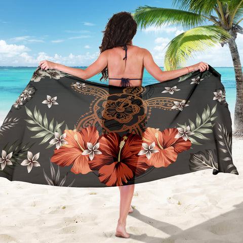 Image of Hawaii Turtle Polynesian Hibiscus Kanaka Style Tropical - Sarong AH J2 - Alohawaii