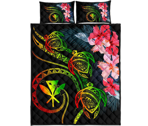 Hawaii Turtle Polynesian Tropical Quilt Bed Set - Cora Style Reggae - AH - J4