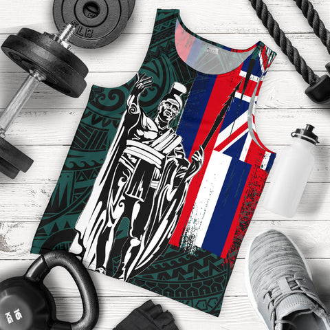 Hawaii King Flag Polynesian Men's Tank Top - Turquoise - AH J4