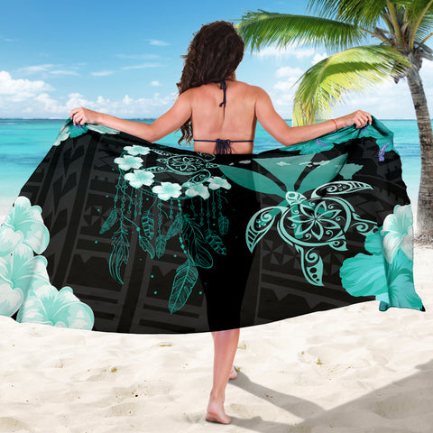 Image of Hawaii Dream Catcher Hibiscus Plumeria Polynesian Turquoise - Sarong AH J2