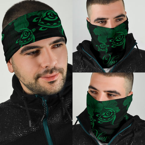 Image of Hawaii Turtle Ohana Hibiscus Polynesian Bandana 3-Pack - Unique Style Green - AH - J4 - Alohawaii