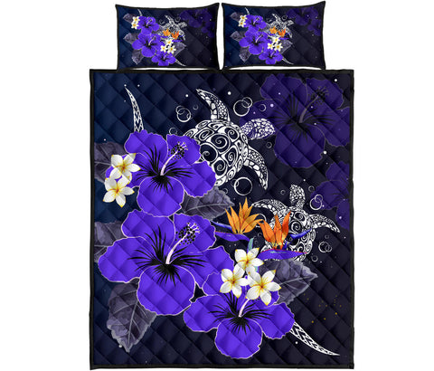 Hawaii Turtle Purple Hibiscus Polynesian Quilt Bed Set - Anne Style - AH - J2