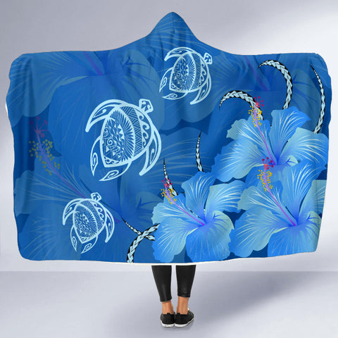 Hawaii Blue Hibiscus Turtle Polynesian Hooded Blanket