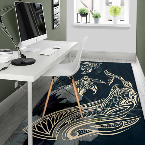 Image of Hawaii Tropical Hibiscus Aumakua  Rug - Lucas Style - Blue Rug - AH - J6 - Alohawaii