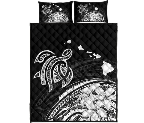 Hawaii Quilt Bed Set - Turtle Polynesian Map Plumeria White