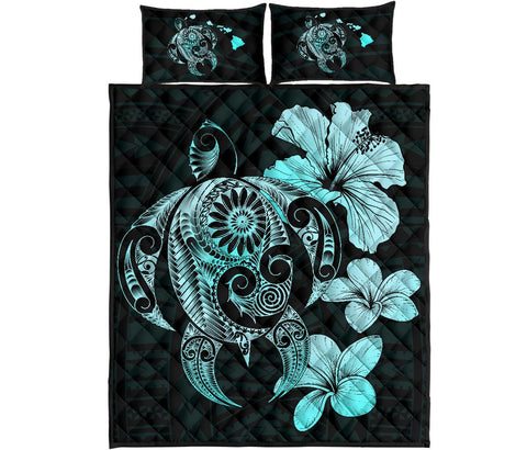 Image of Hibiscus Plumeria Mix Polynesian Turquoise Turtle Quilt Bed Set - AH - J1