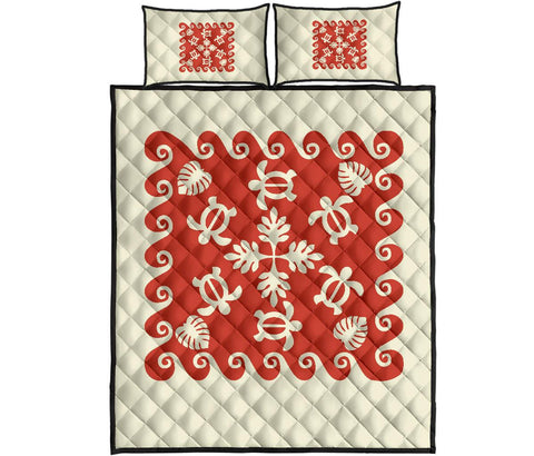 Hawaiian Quilt Bed Set Turtle Pattern - Red - White - AH - J2