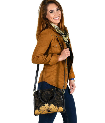 Personalised - Hawaii Royal Hibiscus Polynesian Tribal Shoulder Handbag Gold AH J1 - Alohawaii