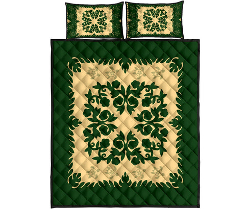 Alohawaii Quilt Bed Set - Hawaiian Quilt Pumeria Medallion Green Quilt Bed Set - AH J8 - Alohawaii