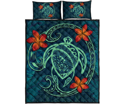 Hawaii Turtle Polynesia Tropical Quilt Bed Set