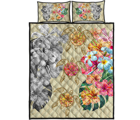 Hawaii Polynesian Flowers Swimming Turtles Quilt Bed Set - AH - J5