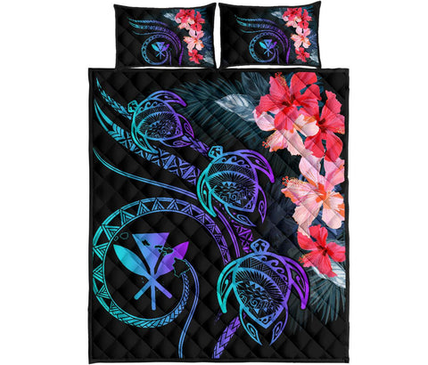 Hawaii Turtle Polynesian Tropical Quilt Bed Set - Cora Style Purple - AH - J4 - Alohawaii
