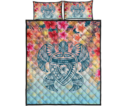 Hawaii Turtle Ohana Stary Night Hibiscus Quilt Bed Set