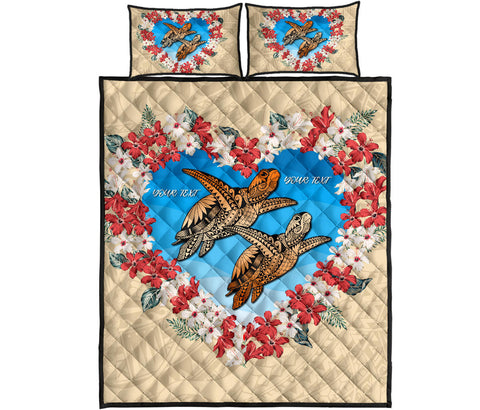(Personalize) Hawaii Turtle Hibiscus Polynesian Valentines Quilt Bed Set