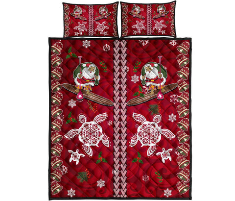Hawaii Turtle Santa Claus Pattern Christmas Quilt Bed Set - San Style - AH - J3