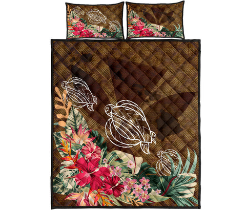 Kanaka Turtle Tropical Knit Background Quilt Bed Set
