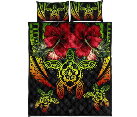 Hawaii Turtle Tropical Polynesian Quilt Bed Set