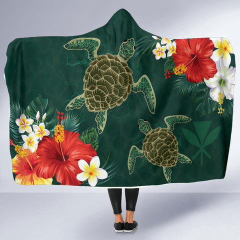 Hawaii Sea Turtle Hibiscus Plumeria Hooded Blanket