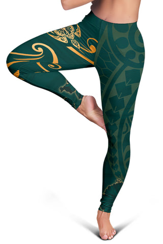 Hawaii Triple Marble Turtle Polynesian Hibiscus Women's Legging - AH - J5
