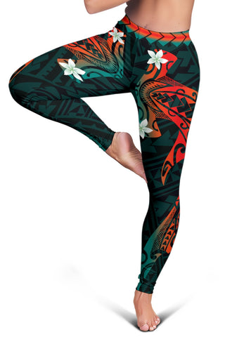 Image of Hawaiian Plumeria Shark Polynesian Women's Leggings - Alohawai