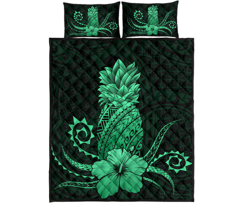 Image of Hawaii Polynesian Pineapple Hibiscus Quilt Bed Set - Zela Style Green - AH - J4 - Alohawaii