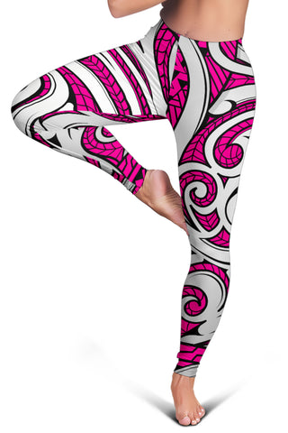 Polynesian Maori Ethnic Ornament Pink Hawaii Women's Leggings AH J2