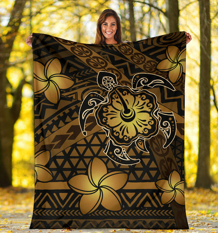 Hawaii Mix Polynesian Turtle Plumeria Premium Blanket - AH - Nick Style - Brown - J5