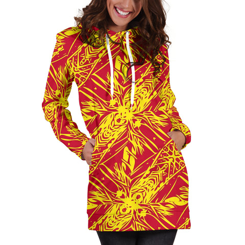 Polynesian Tribal Hoodie Dress 02 - AH - J7 - Alohawaii