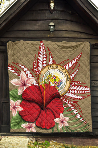 Hawaii Polynesian Coat Of Arm Tropical Premium Quilt - AH - J4