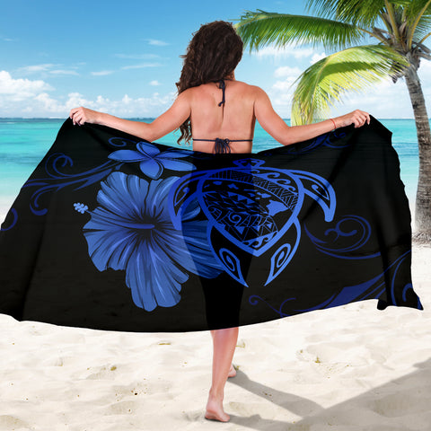 Image of Hawaii Turtle Hibiscus Plumeria Poly Sarong - Blue - AH J4