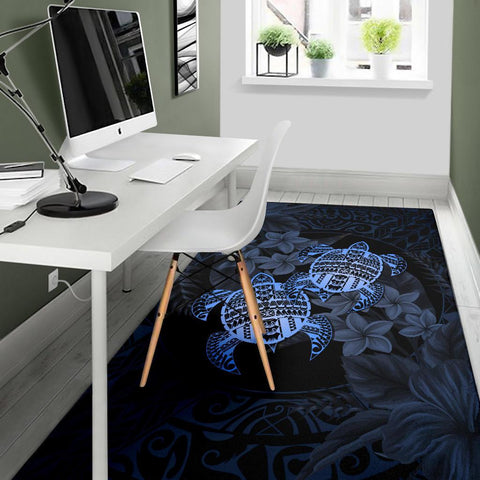 Alohawaii Rug - Turtle Strong Pattern Hibiscus Plumeria Blue AH J1 - Alohawaii
