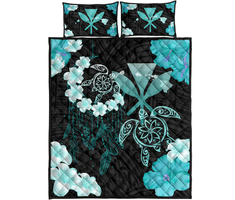 Image of Hawaii Dream Catcher Hibiscus Plumeria Polynesian Turquoise - Quilt Bed Set AH J2