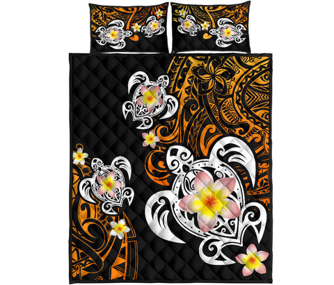 Hawaii Turtle Plumeria Polynesian Quilt Bed Set