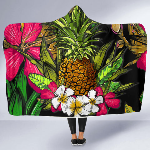 Hawaii Tropical Flowers Pineapple Hooded Blanket - AH - J5