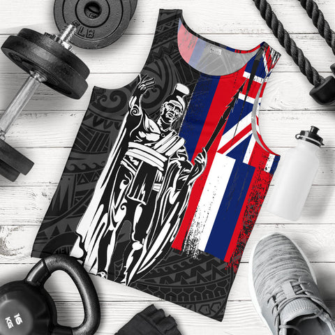 Hawaii King Flag Polynesian Men's Tank Top - Gray - AH J4