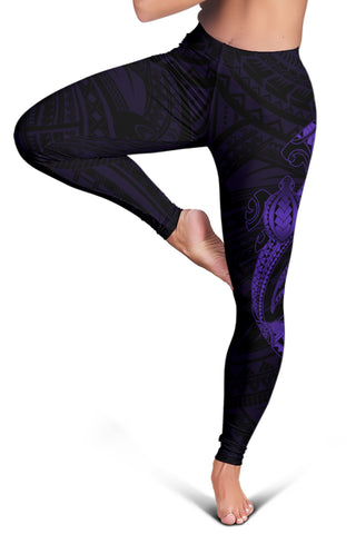 Image of Hawaii Turtle Shark Polynesian Leggings - Purple - AH J4