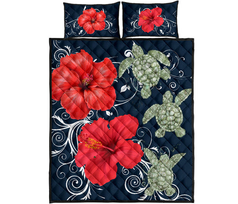 Hawaii Deep Blue Hibiscus Turtle Quilt Bed Set
