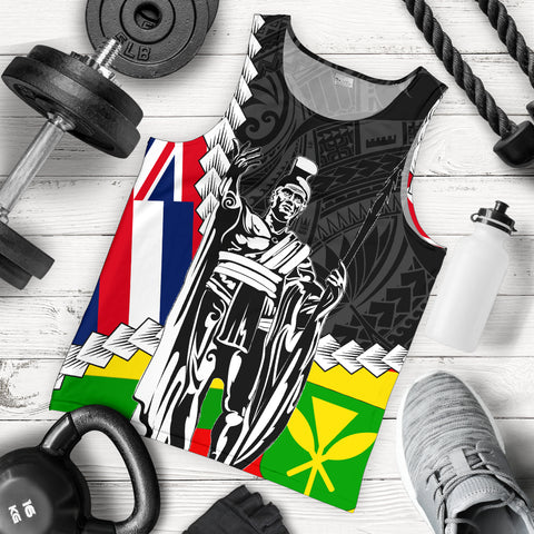 Hawaii Two Flag Kanaka Maoli King Polynesian Men's Tank Top - AH - J4