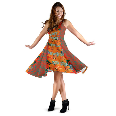 Hawaii Tropical Flowers Polynesian - Hawaiian Midi Dress - Haka Style - AH - J2
